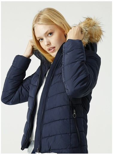 Only Only Newellan Quilted Fur Hood Mont Lacivert